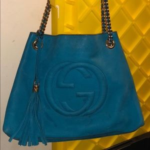 Gucci turquoise blue hobo bag